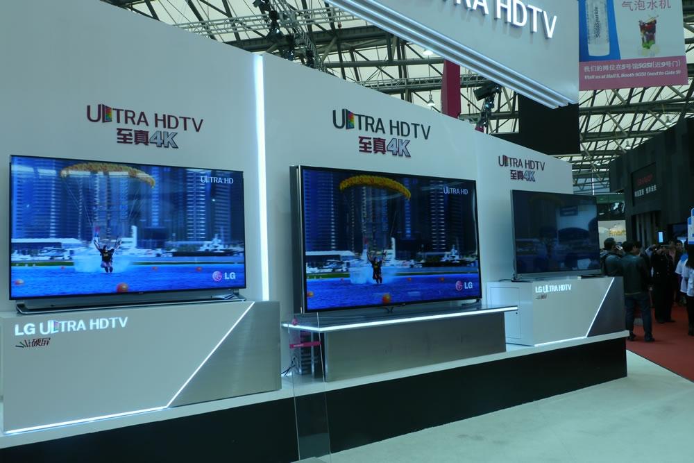 LG电视展位,至真4K电视为主打。
