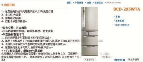东芝家用电器销售(南海)有限公司官方网站截图。