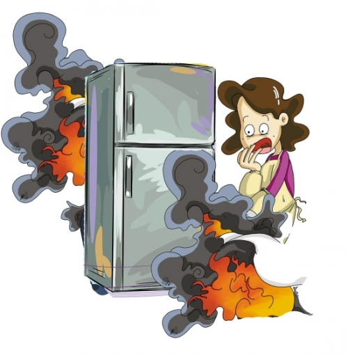 """导致压缩机高温,再加上常年使用很容易导致冰箱""""发怒""""而起火."""