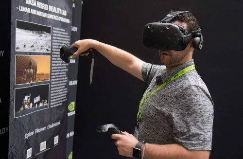 A demonstration of a virtual-reality headset at an Nvidia conference in November
